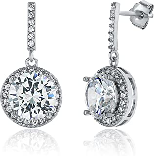 Montage Jewelry Women's Circle Halo Cubic Zirconia & Sterling Silver Bridal Earrings