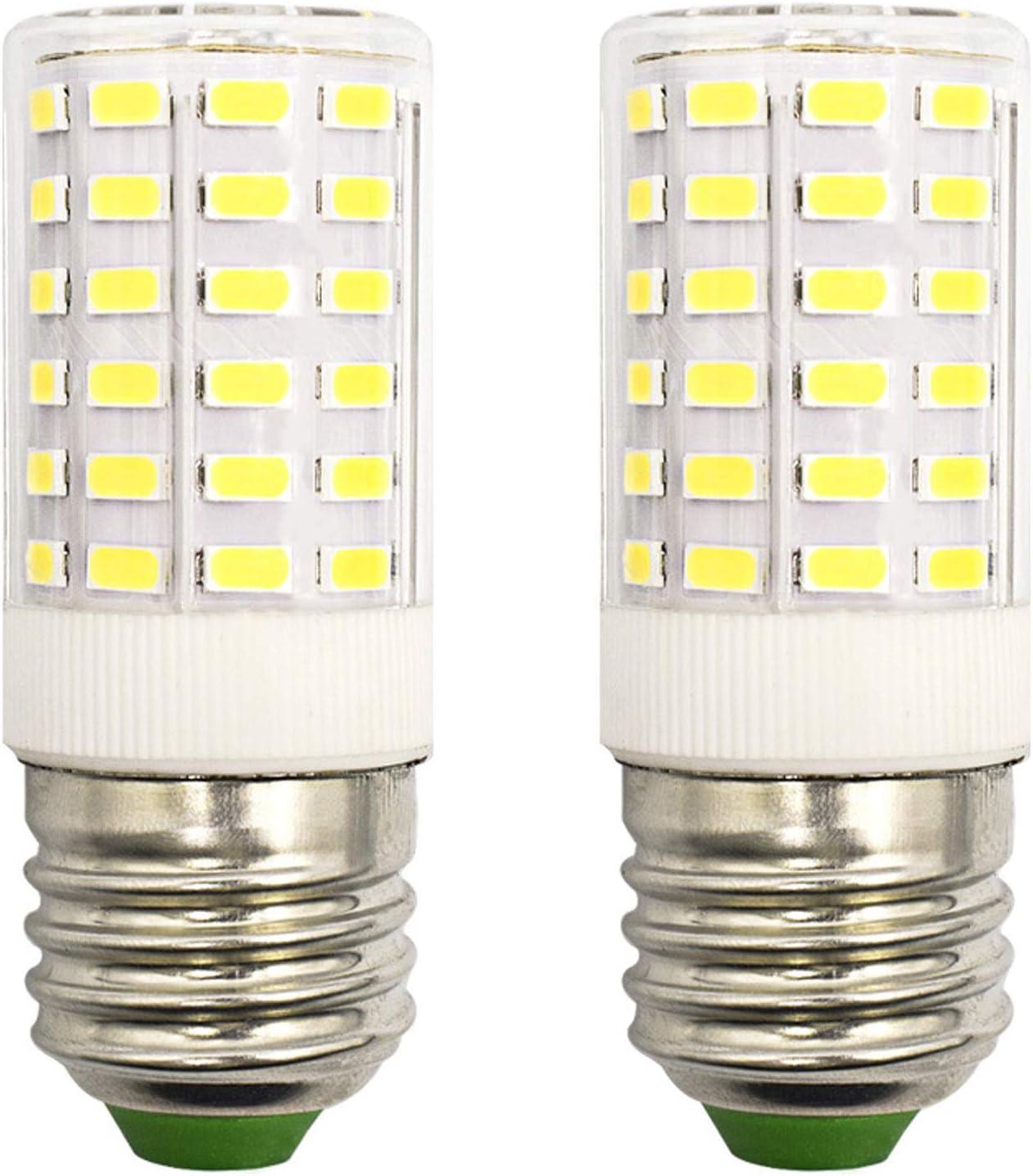 Refrigerator Light Bulb 7W LED E26 Equivalent 100W A15 Fridge Freezer Appliance Home Lighting E26 Edison Halogen, Cool White 6500K 100V-265V Super Bright Corn Lamp, Pack of 2