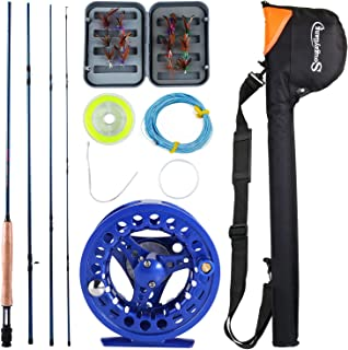 Sougayilang Saltwater Freshwater Fly Fishing Rod with Reel Combo Kit