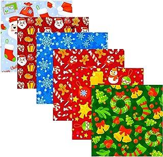 Riastvy 6 peças de tecido de Natal para quartos de gordura, tecido de algodão de Natal faça você mesmo Natal feito à mão P...