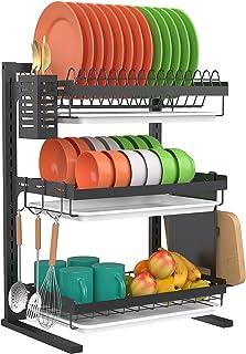 Kitchen Organizer Pot Lid Rack Dish Rrain Rack Spoon Holder Shelf Cutting B U9R8