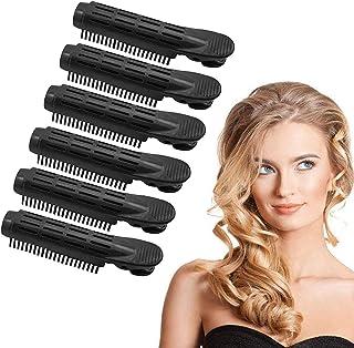 6 Piezas Clips para la Raíz del Cabello, Rulos para el Pelo Voluminización Esponjoso Natural Herramienta de Peinado Rizado Rodillo de Salón para Mujeres, Damas y Niñas (Negro)