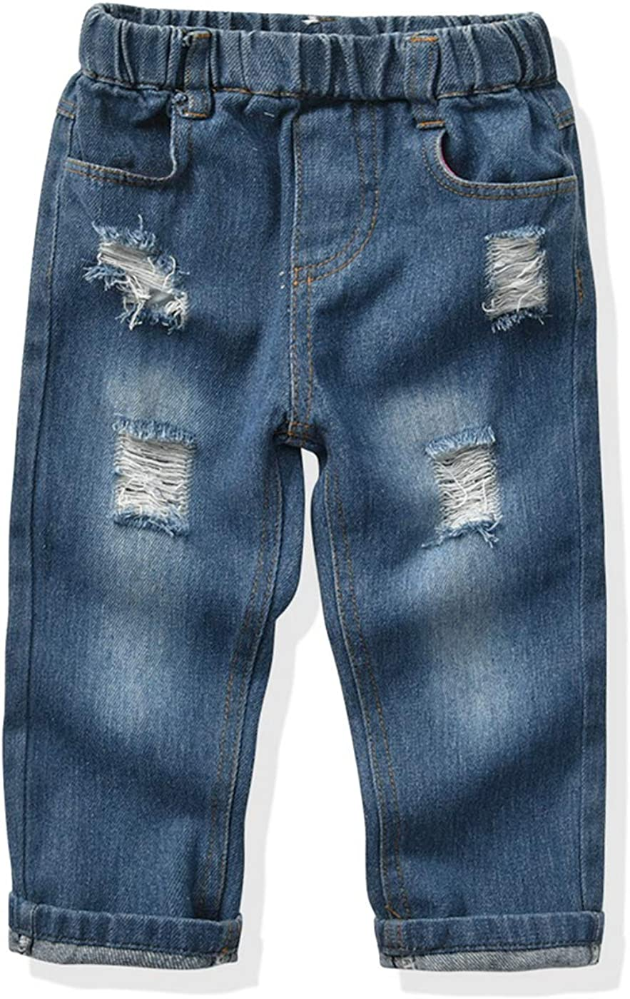LAPA Baby & Toddler Boys Ripped Jeans Elastic Waist, Denim Pants for 1-7 Years Destroyed
