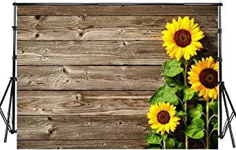 Sensfun 8x6ft Sunflower Backdrop Spring Blooming Sunflowers on Rustic Wood Plank Photography Background for Wedding Sweet 16 Birthday Christmas Party Decor Photobooth Banner Photo Studio Props(WP049)