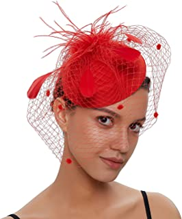 FAYBOX Fascinators Sinamay Hats for Women for Tea Party Kentucky Derby Wedding Cocktail Mesh Feathers Hair Clip