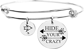 Pink Box Fun Sayings Bangle Silver - Hide Your Crazy