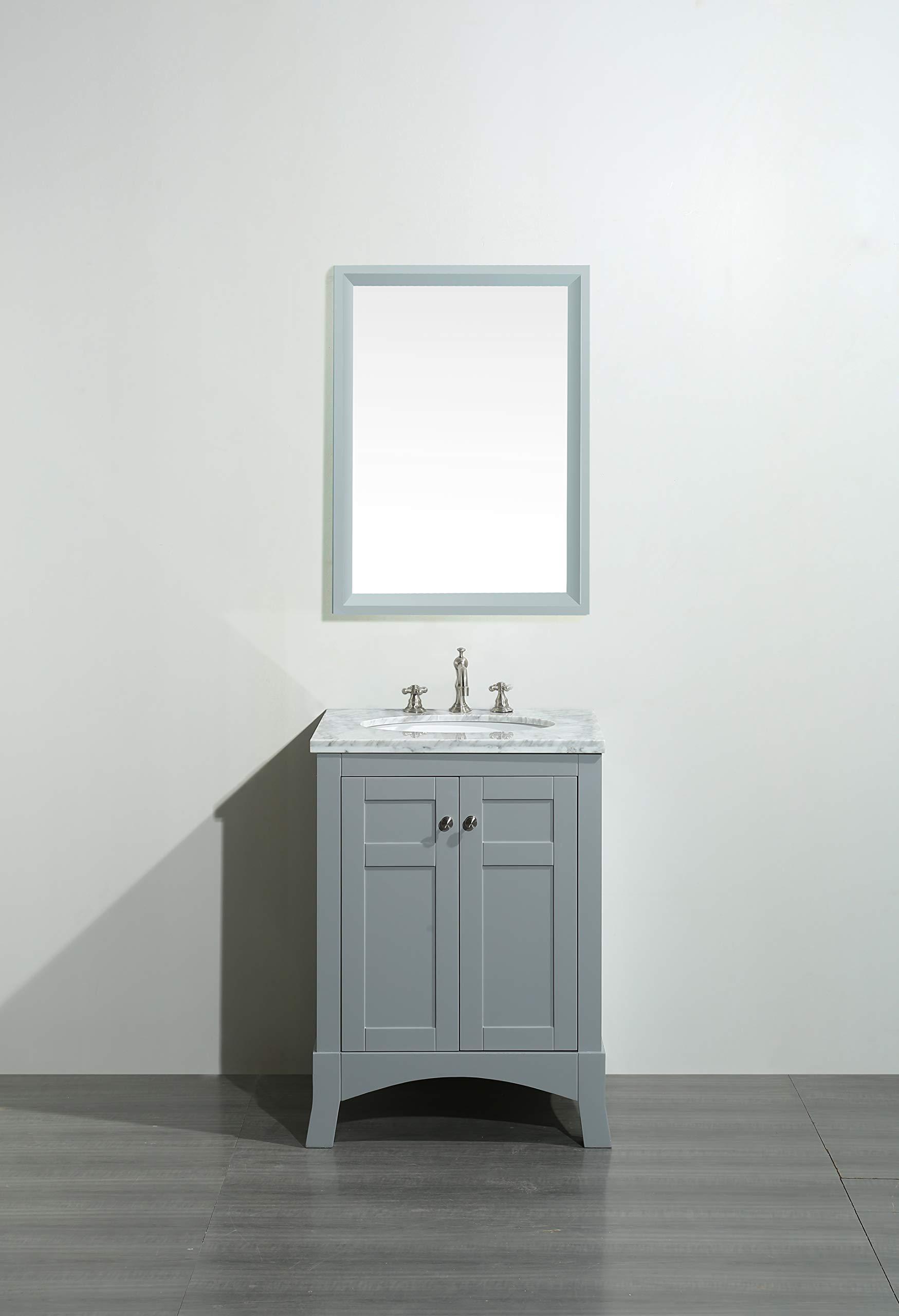 Eviva New York 24 Inch Gray Bathroom Vanity With White Carrara Countertop And Undermount Porcelain Sink Amazon Com