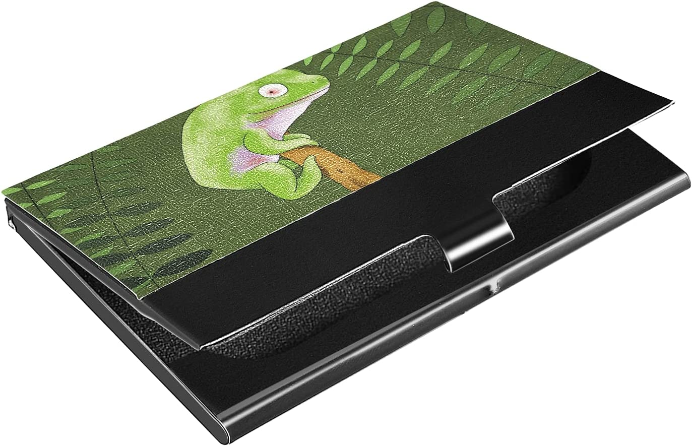 OTVEE Cute Green Frog Business Card Holder Wallet Stainless Steel & Leather Pocket Business Card Case Organizer Slim Name Card ID Card Holders Credit Card Wallet Carrier Purse for Women Men