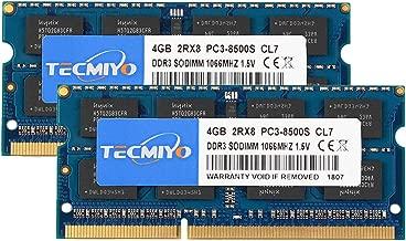 TECMIYO 8GB Kit (2x4GB) DDR3 1066MHz PC3-8500 PC3-8500S Non ECC Unbuffered 1.5V CL7 2RX8 Dual Rank 204 Pin SODIMM Laptop Notebook Computer Memory Ram