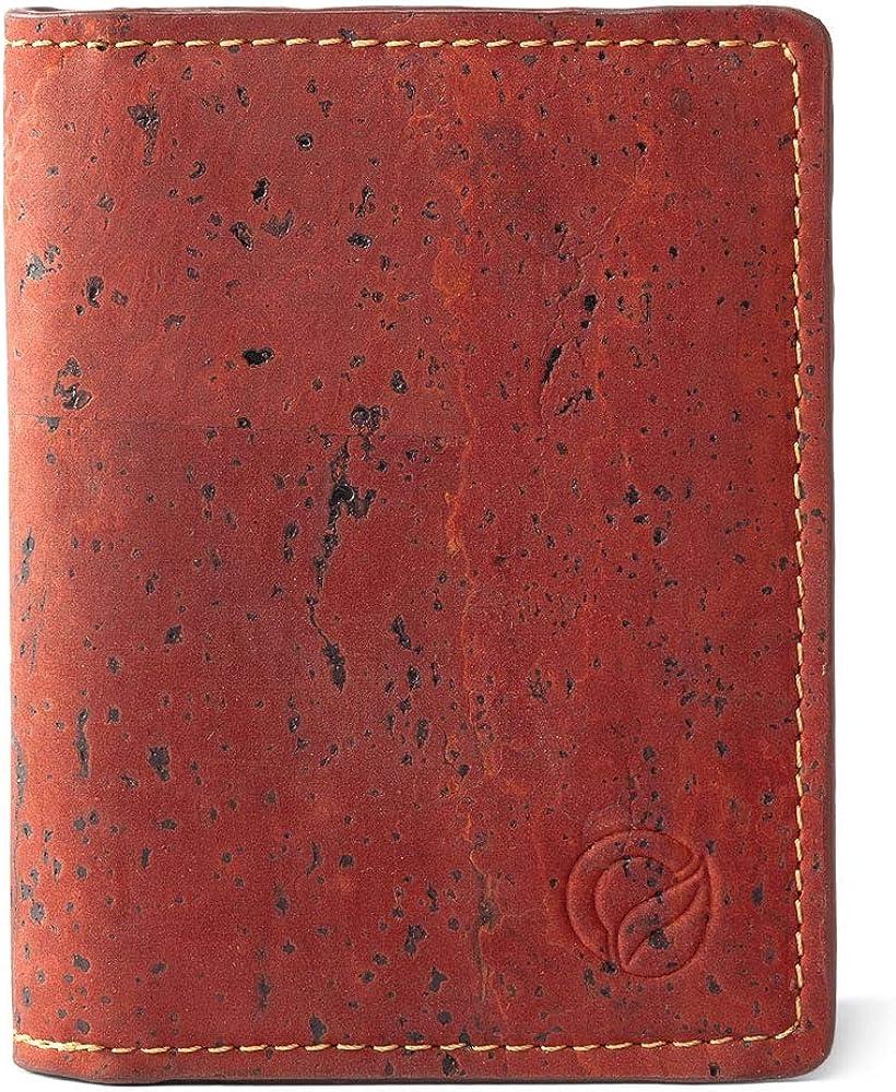 Corkor, portafoglio uomo, porta carte di credito, in pelle di sughero, rosso CK162A