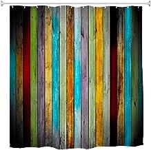 Goodbath Striped Shower Curtain,Colorful Wooden Board Waterproof Bathroom Shower Curtains, 72 x 72 Inch, Pink Blue Orange ...