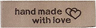 50 Count Handmade Sewing Labels with Interlocking Hearts in Light Coffee 50mm x 15mm