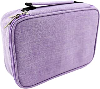 Pencil Case, 72 Slots Multi-Functional Large Capacity Pens Case Pencil Bag Makeup Pouch Durable Students Stationery with Double Zipper (Purple)
