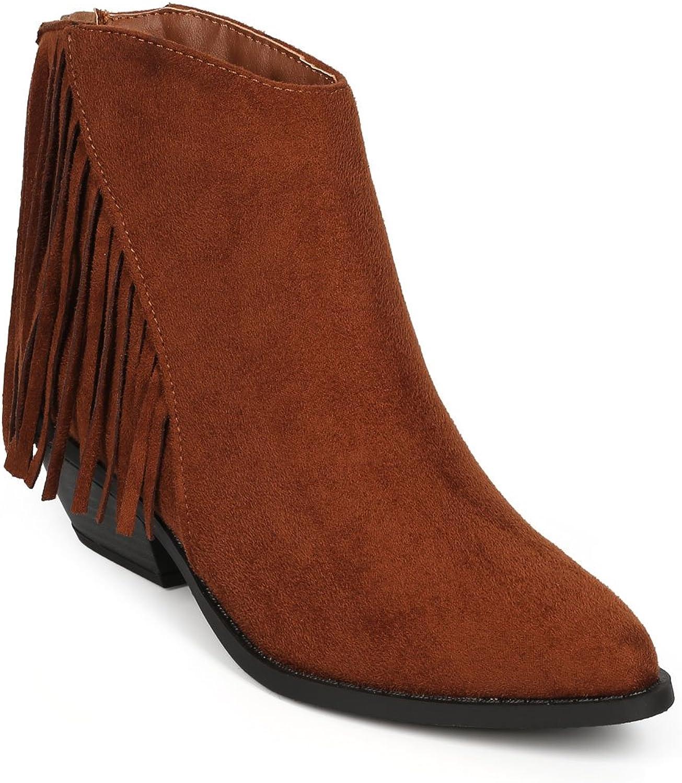 Soda CI89 Women Suede Pointy Toe Fringe Chunky Heel Ankle Bootie - Cognac