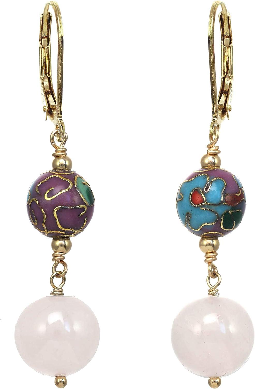 Rose Quartz and Cloisonne Drop Earrings