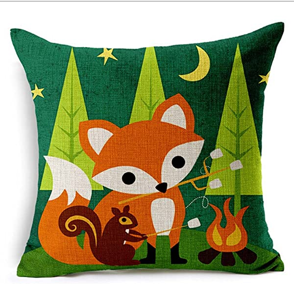 QINU KEONU Fox Animals Oil Painting Cotton Linen Throw Pillow Case Cushion Cover Home Sofa Decorative 18 X 18 Inch 5