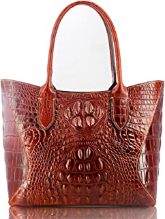Brown Genuine cow leather tote bag with crocodile effect embossed wallet purse bag card purse bag hand painted designer bags purses for women girls