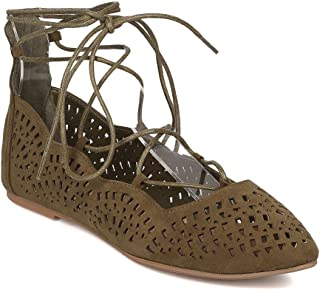 Wild Diva Women Faux Suede Pointy Toe Perforated Lace Up Ballet Flat GI25