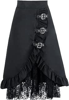 spyman Women's Steampunk High Waist Skirts Gothic Victorian Black Floral Lace Skirt Medieval Renaissance Asymmetrical Skirts