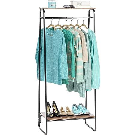 Iris Ohyama - Portant penderie à vêtements / Porte-manteaux avec 2 étagères en bois MDF et métal - Garment Rack PI-B2 - Brun et noir, 64 x 40 x 151.2 cm