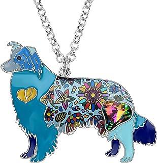 NEWEI Enamel Alloy Rhinestone Crystal Border Collie Dog Necklace Pendant Cute Fashion Animal Jewelry for Women Girls Gift