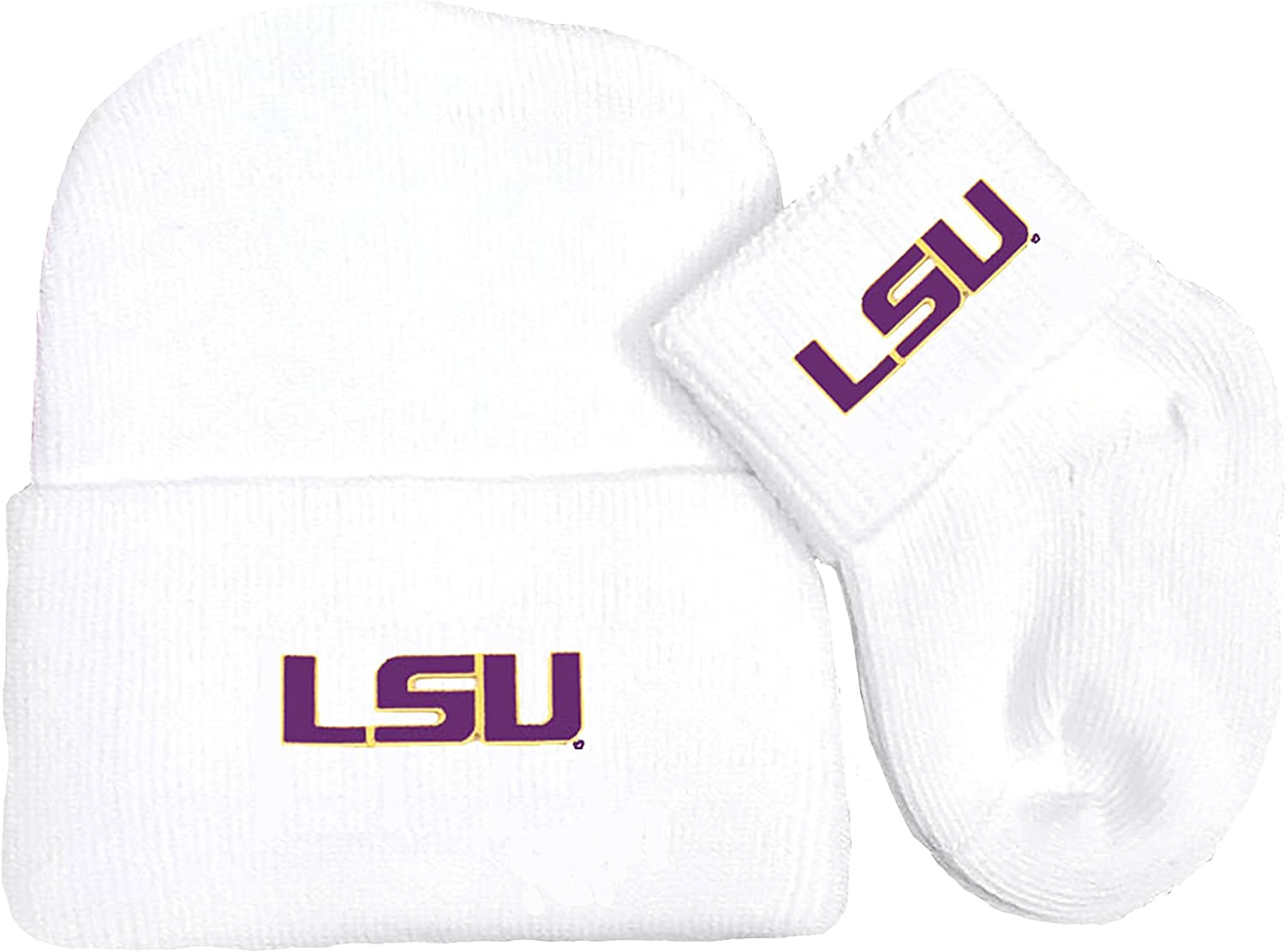 Future Tailgater LSU Tigers Newborn Baby Knit Cap and Socks Set