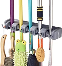 Mop and Broom Holder, 5 position with 6 hooks garage storage Holds up to 11 Tools, storage solutions for broom holders, garage storage systems broom organizer for garage shelving ideas by Eisonlife