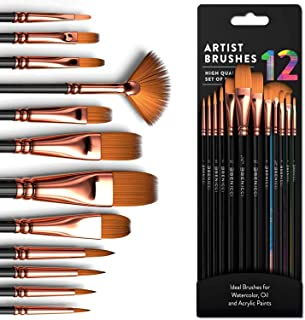 Professional Artist Paint Brushes set with Nylon Hair Painting Brush Great for Acrylic, Face, Nail Art, Body Art, Miniatur...