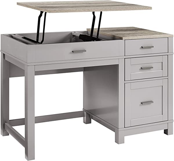 Computer Desk With Lift Top Drawers Storage Organize File Drawer Home Office Furniture Workstation Laptop PC Table Study Writing Reading Sturdy Gray