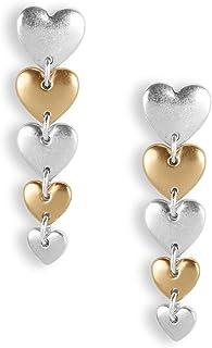 Lucky Brand Linear Heart Drop Earrings, Two Tone