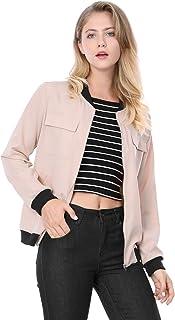 Allegra K Women's Zip Up Pocket Lightweight Classic Bomber Jacket