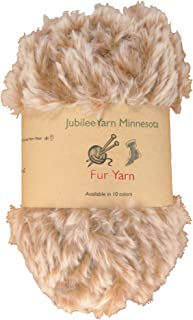 BambooMN Chunky Fluffy Faux Fur Eyelash Yarn - 100% Polyester - 100g/Skein - 2 Skeins - Brown and White