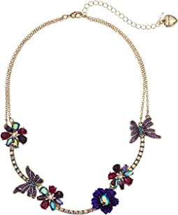 Multi Stone Butterfly and Flower Frontal Necklace