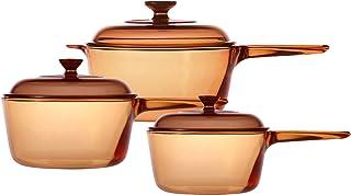 VISIONS - Juego de cazos de Vidrio Pyroceram, 6 Piezas, de 1 litro, 1,5 litros y 2,5 litros, Color marrón