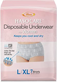 HASOCARE Disposable Moisture Wicking Briefs (Without pad) for Women 7 Count