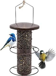 Sorbus Bird Feeder – Circular Perch Hanging Feeder for Finches Bird Seed and More, Premium Iron Metal Design with Hanger, Great for Attracting Birds Outdoors, Backyard, Garden, Brown (Circular Perch)