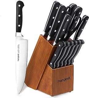 homgeek Cuchillos de Cocina 15 Piezas, Juego de Cuchillos Profesional Hecho de Acero Alemán X50Cr15, Incluye Bloque de Madera, Afilador de Cuchillos, Tijeras