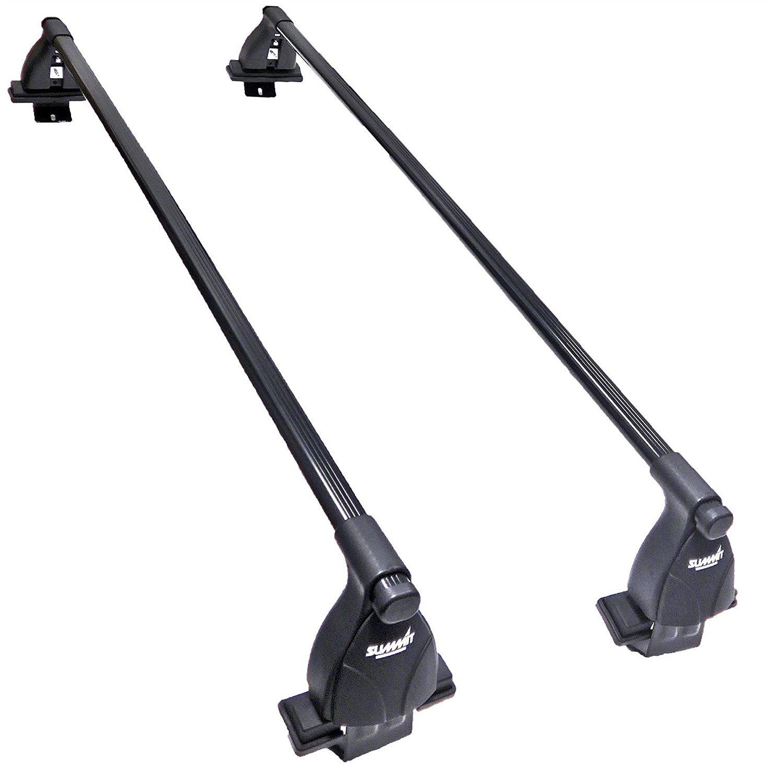 Black Steel Set of 2 Summit SUP-20244S Premium Multi Fit Lockable Roof Bars