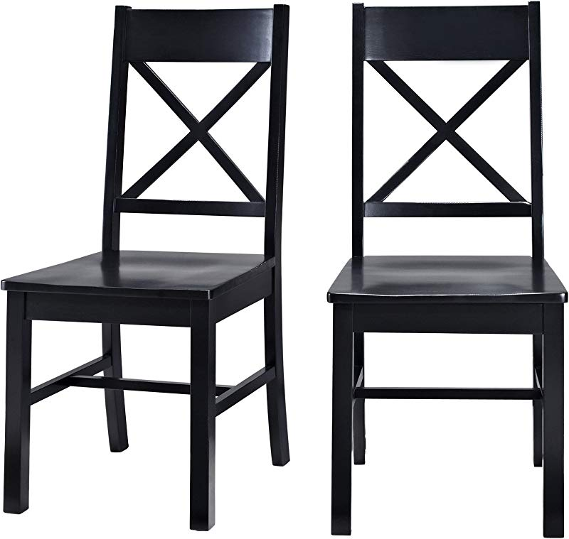 WE Furniture Solid Wood Black Dining Chairs Set Of 2
