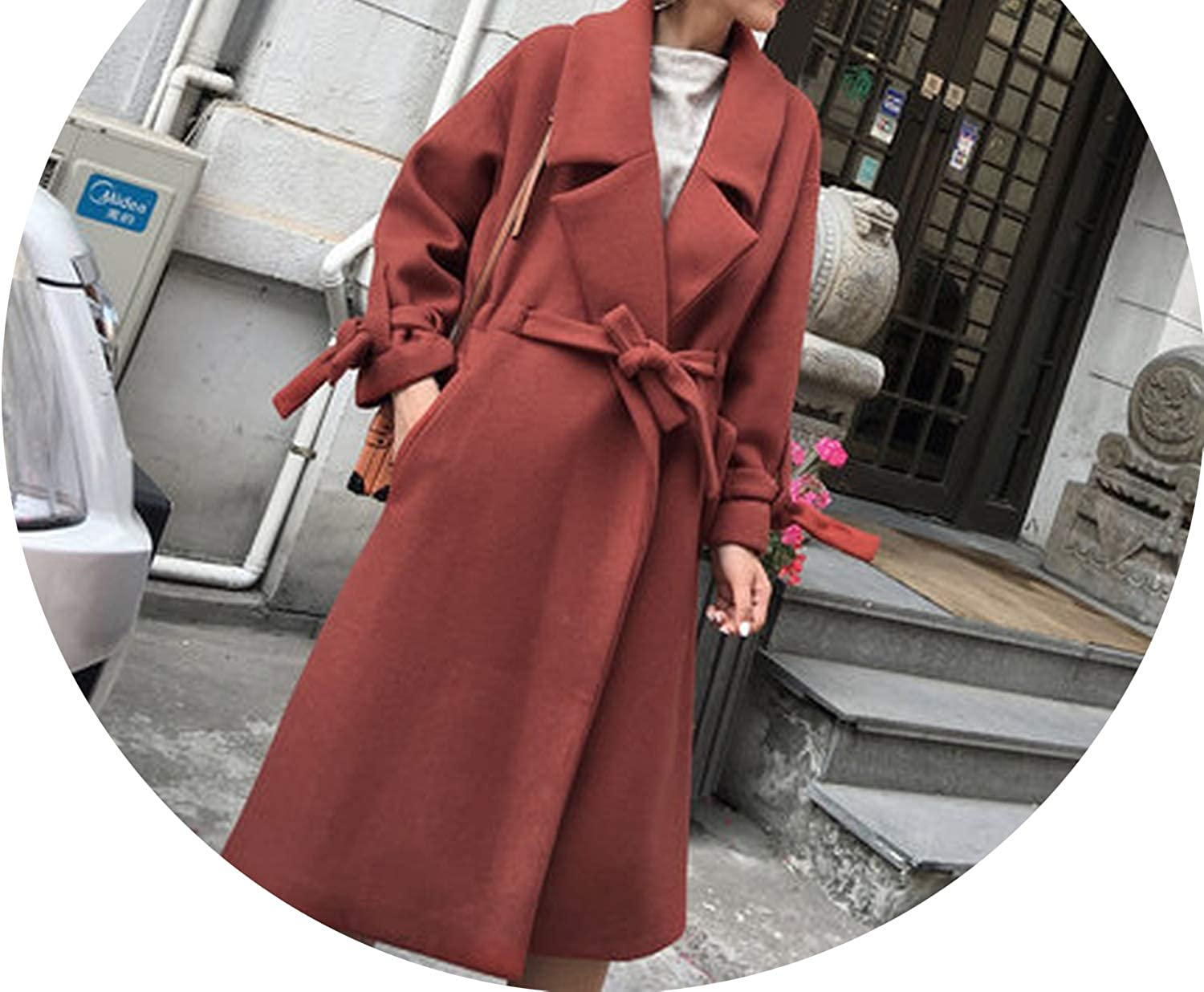 Dreamedge Women Winter Autumn Jacket Winter Coat Women Slim Long Style Soild Woolen Coat Female Jacket