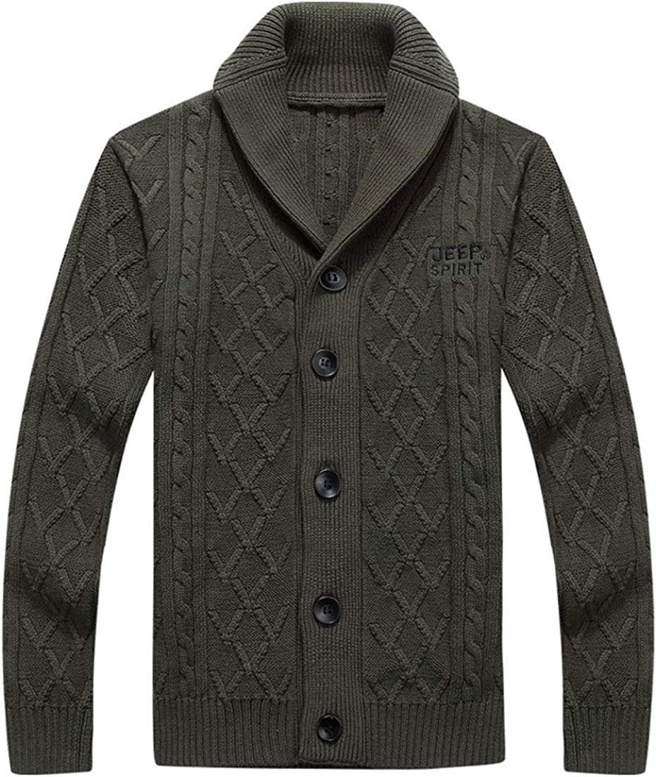 ebossy Men's Cable Knit Shawl Collar Button Down Cotton Cardigan Sweater