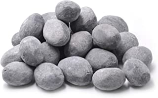 Stanbroil 24pcs Light Weight Ceramic Fiber Pebble Stones for Fire Pit and Fireplace - Grey