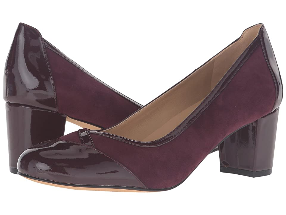 Trotters Phoebe (Burgundy Kid Suede/Patent Leather) High Heels