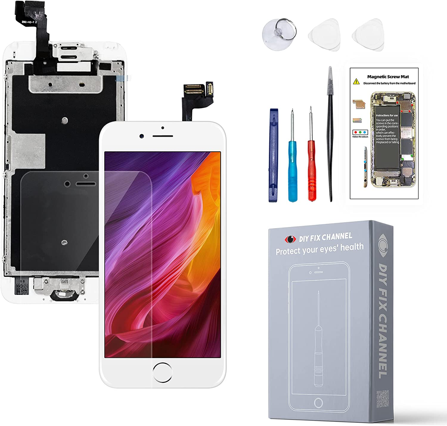 for iPhone 6S Screen Replacement Black,Screen LCD Touch Digitizer Complete Display for A1633-A1688-A1700 with Home Button Ear Speaker Front Camera Screen Protector and Fix Tools (White)