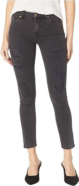 Denim Black Skinny Repair Jeans