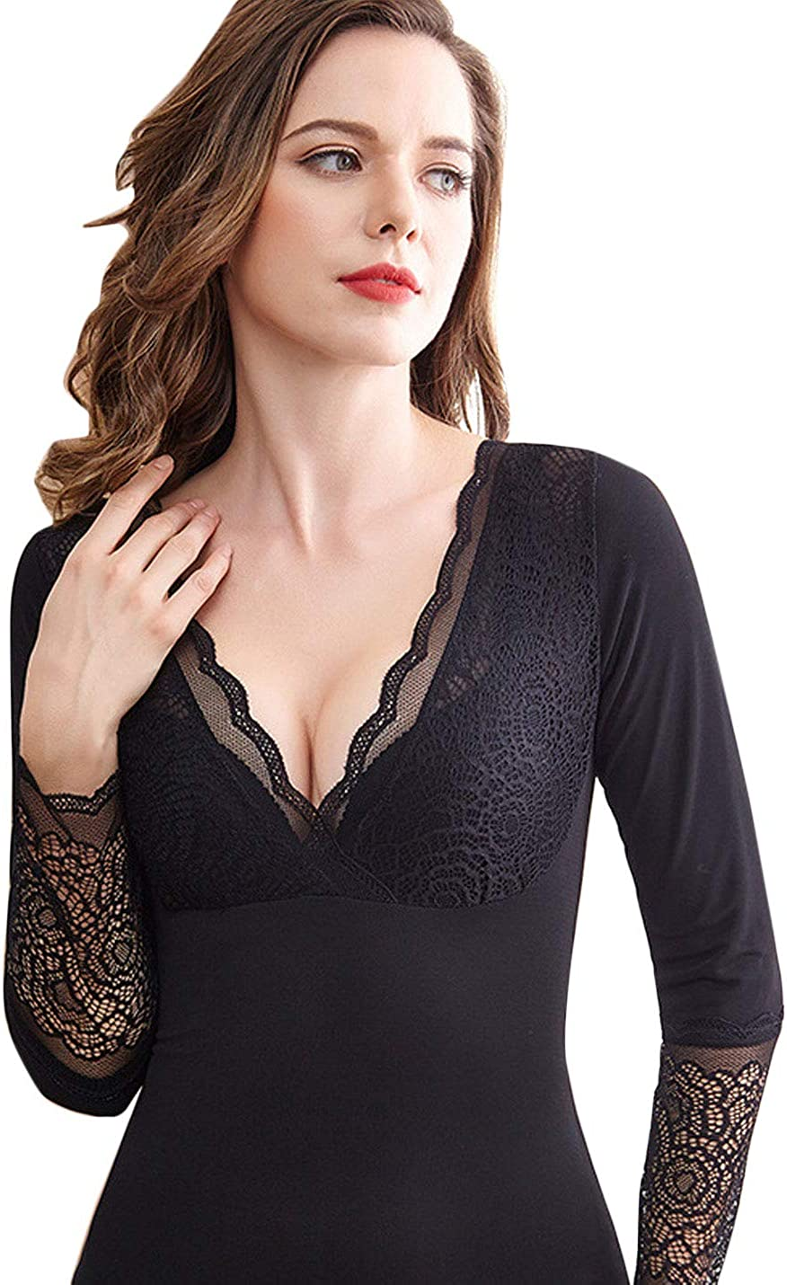 Flygo Women's Winter Shirts Long Sleeve Sleeveless V-Neck Fleece Lined Baselayer Tank Tops