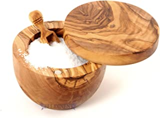 Gift Idea Sale! Olive Wood Salt Keeper and Scoop, Handmade Wooden Salt Cellar