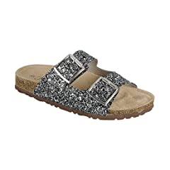 e107cdc23a9f Forever Women s Sparkle Glitter Slip On Casual Sandals