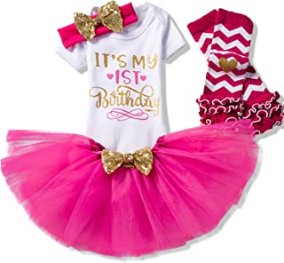 TTYAOVO Newborn Girls It's My 1st/2nd Birthday 4 Pcs Outfits with Romper&Skirt&Headband&Leggings