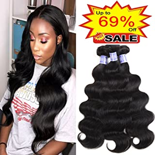 Sayas Hair (18 20 22 inch) Brazilian Virgin Hair Body Wave Remy Human Hair Bundles 100% Unprocessed Human Virgin Hair 3 Bundles 100g/Bundle Natural Color